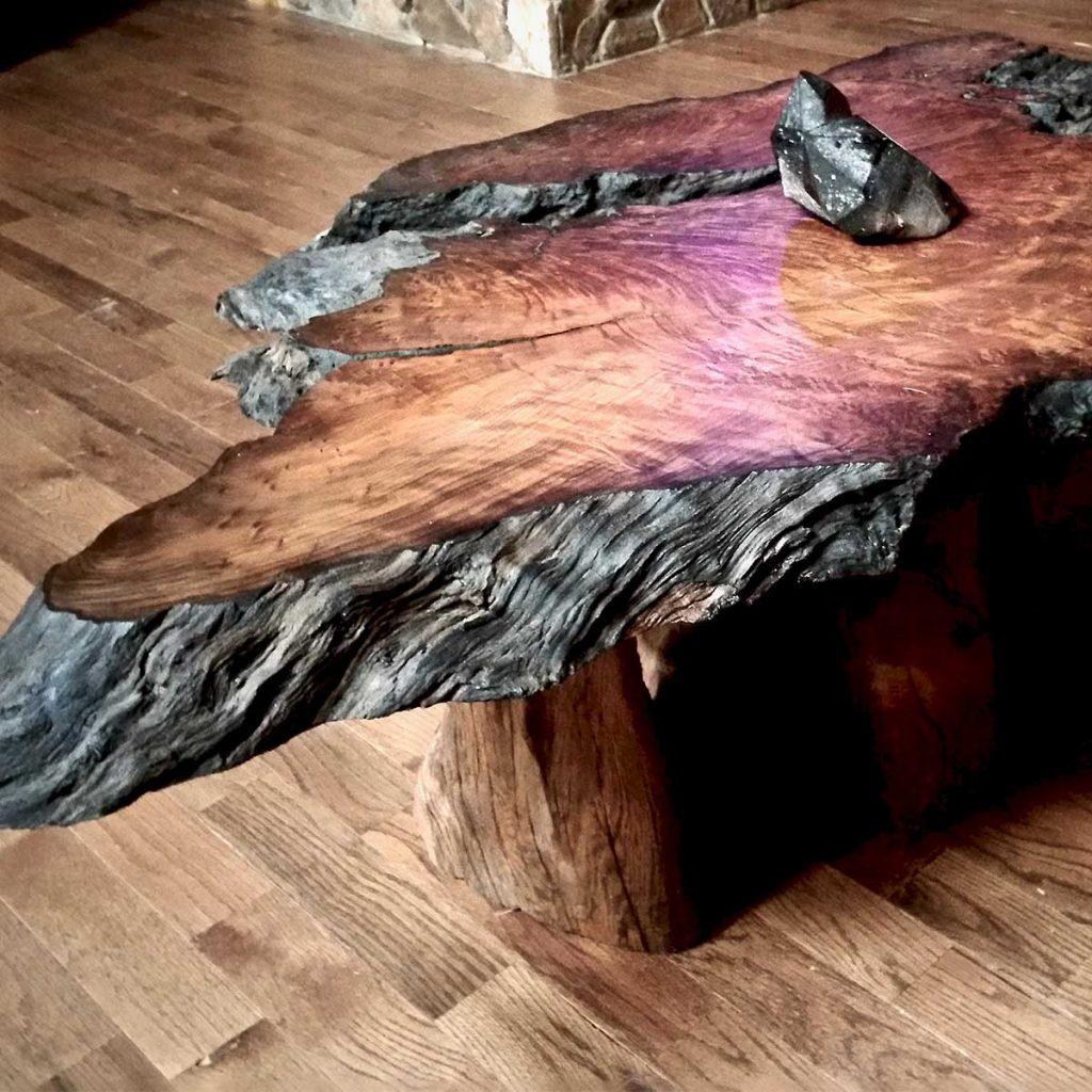 Lace burl redwood live edge coffee table
