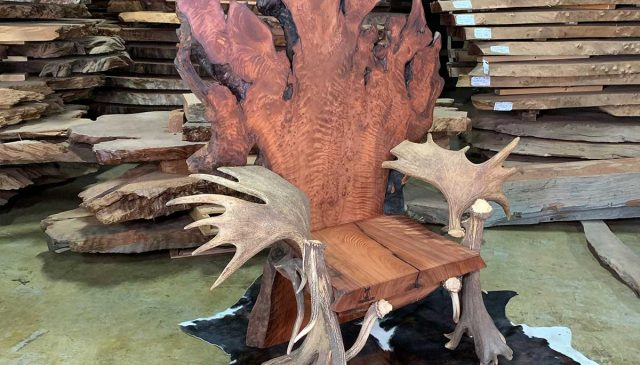 rustic desk chair with antler arm rest