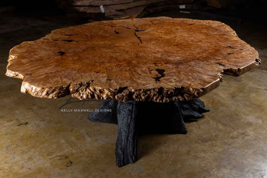 Exotic burl wood dining table