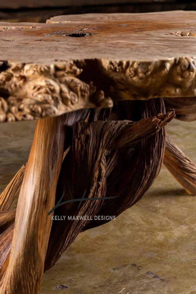 Artistic burl wood table