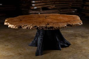Burl wood live edge furniture.