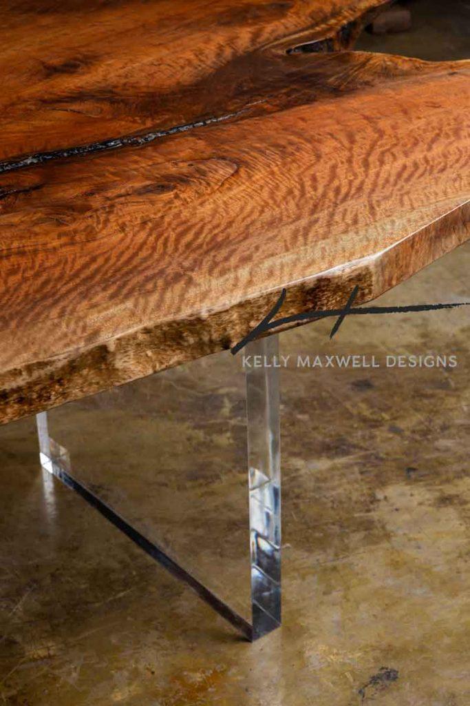 Acrylic and live edge wood.