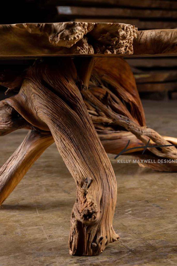 Juniper log coffee table base.