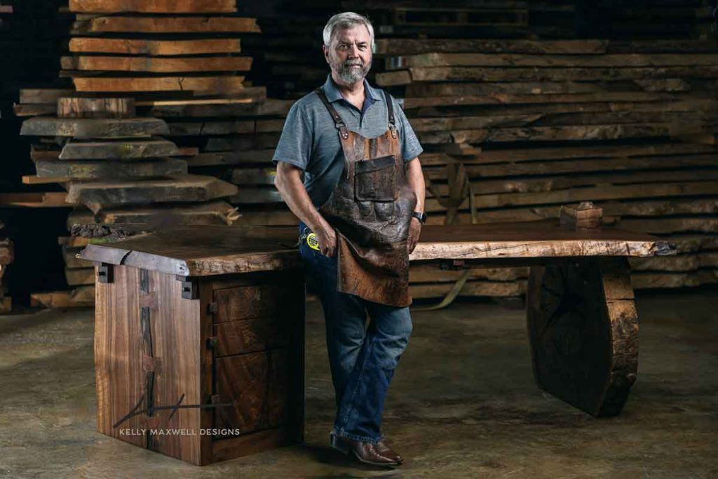 """Live edge rustic desk by Kelly Maxwell, known as """"The Little Branch Desk"""