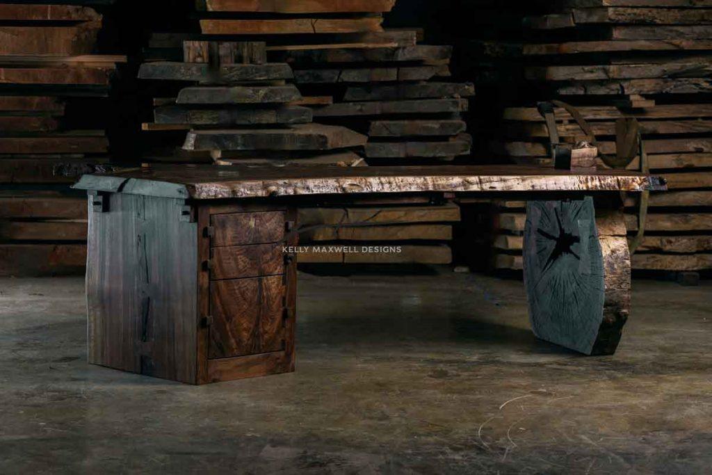 Claro walnut live edge rustic desk.