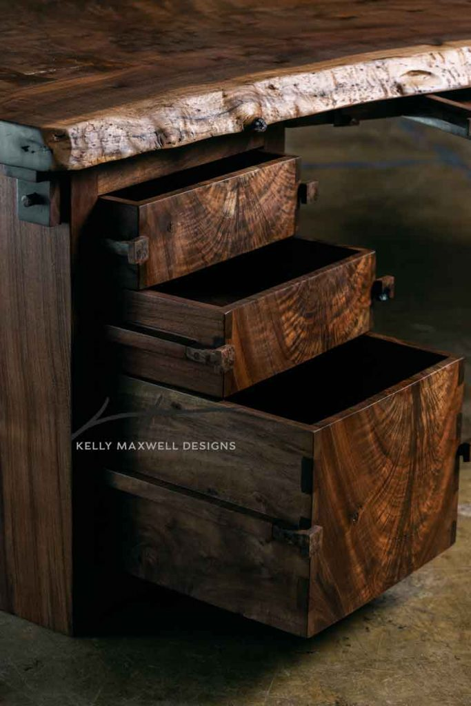 Solid wood drawers with dovetail joints and sliding Dado joint.